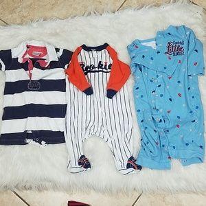 A bundle of 3 baby boy onesies
